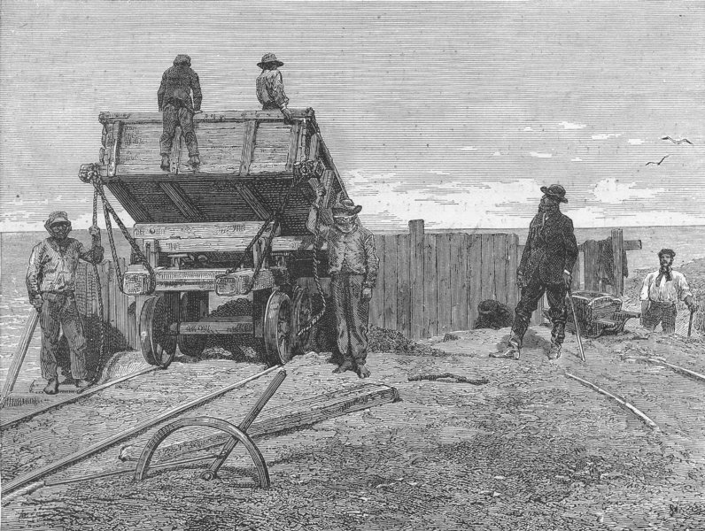 Associate Product PERU. Chincha Islands. Discharging Guano-wagons 1880 old antique print picture