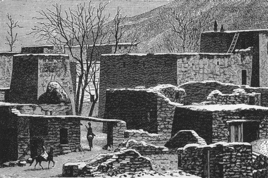 Associate Product EURASIA. Caucasus. Caucasian Village in winter 1880 old antique print picture