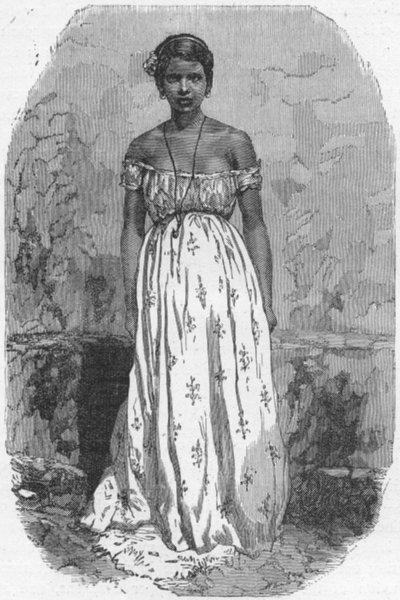 Associate Product BRAZIL. Half-Caste girl of Manaus 1880 old antique vintage print picture