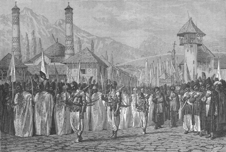 Associate Product EURASIA. Caucasus. Funeral parade, Schucha 1880 old antique print picture