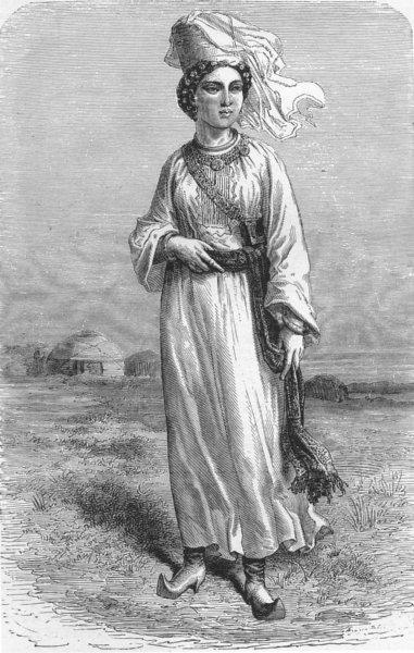 Associate Product UZBEKISTAN. West Turkistan. Girl of Bukhara 1880 old antique print picture
