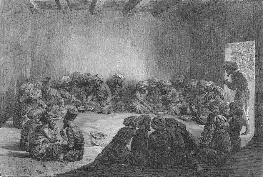 Associate Product TURKMENISTAN. West Turkistan. Turcomans dining 1880 old antique print picture