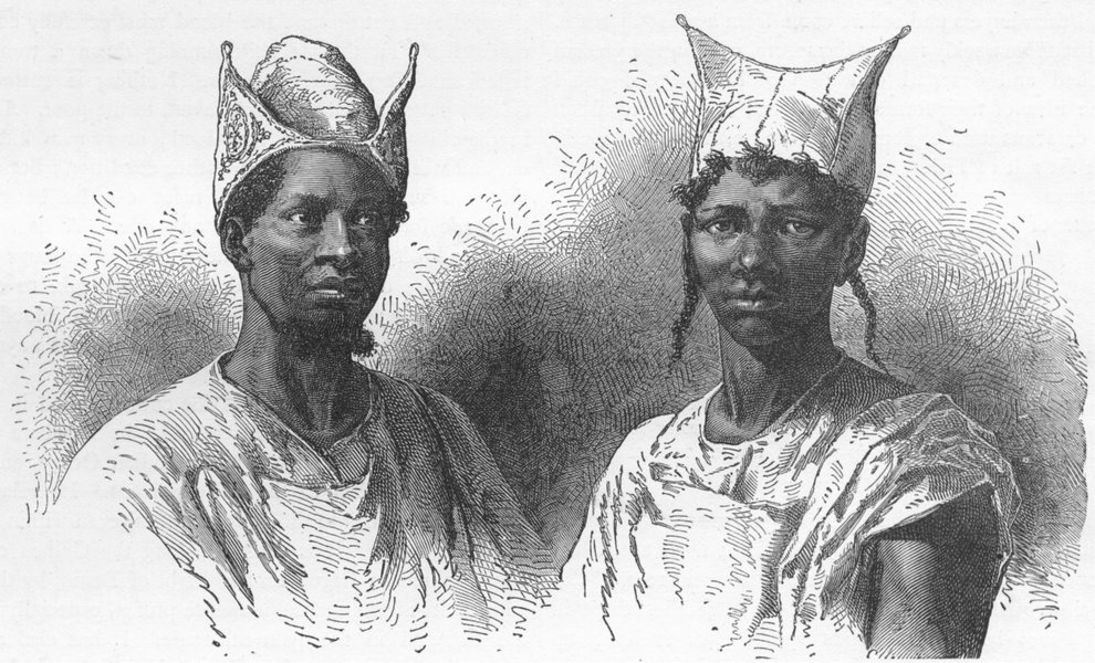 Associate Product MALI. Bambaras & head-dresses 1880 old antique vintage print picture