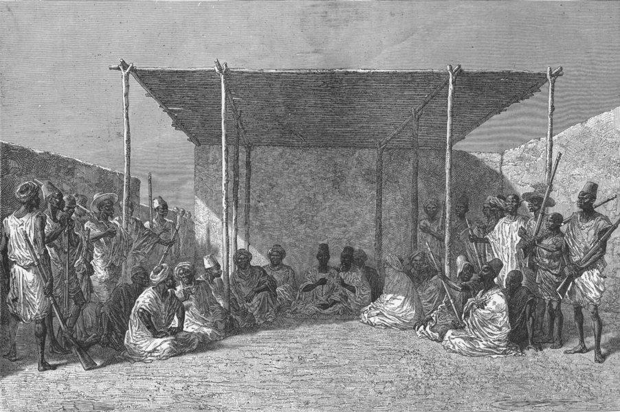 MALI. King Ahmadou presiding at a Palaver 1880 old antique print picture