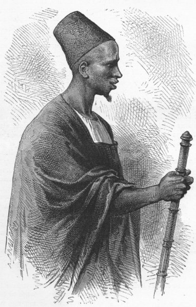Associate Product MALI. Ahmadou, King of Segou 1880 old antique vintage print picture