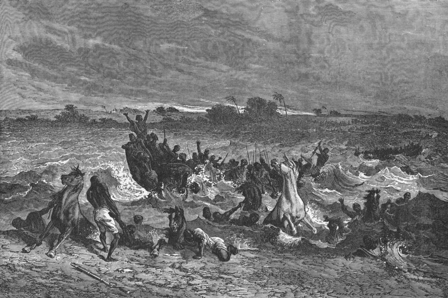 Associate Product MALI. Ahmadou's army crossing Niger 1880 old antique vintage print picture