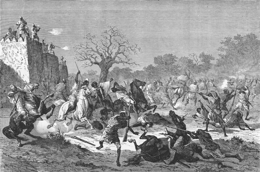 Associate Product MALI. Bambaras attack Besiegers 1880 old antique vintage print picture