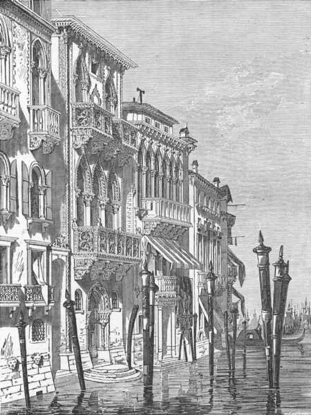 Associate Product ITALY. Venetian houses 1880 old antique vintage print picture