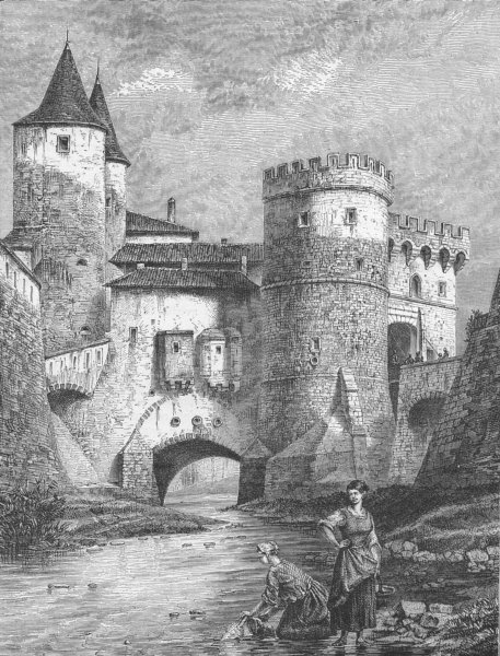 Associate Product FRANCE. Alsace & Lorraine. Germans gate, Metz 1880 old antique print picture