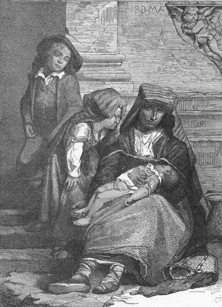 Associate Product ROME. Family of beggars 1880 old antique vintage print picture