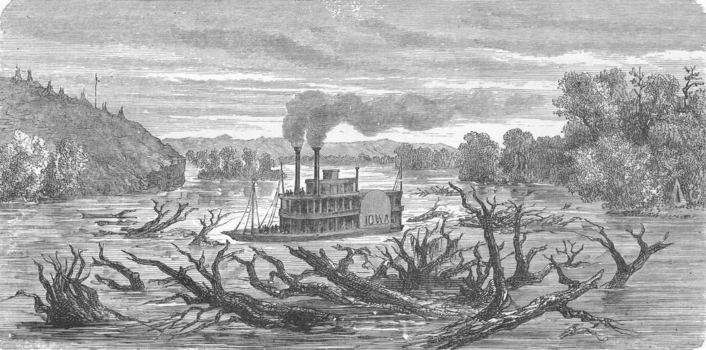 Associate Product WISCONSIN. Steamer on the Mississippi 1880 old antique vintage print picture