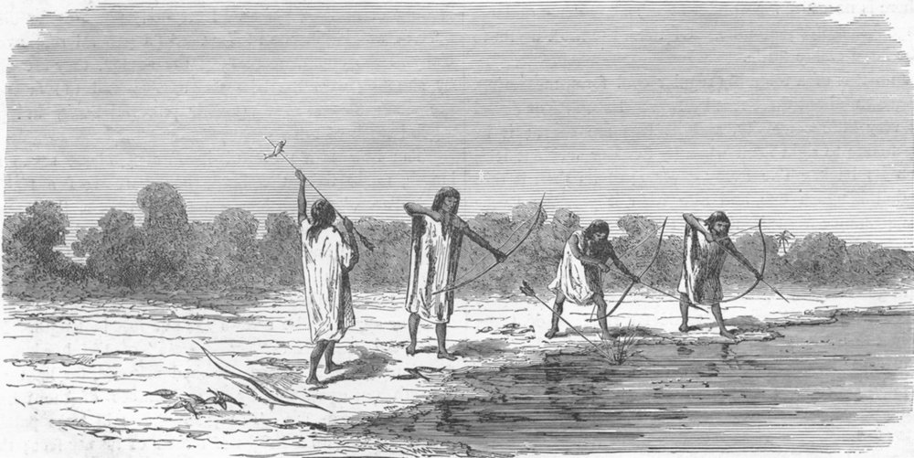 Associate Product BRAZIL. Indians shooting fish 1880 old antique vintage print picture
