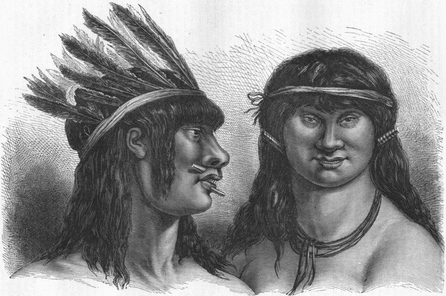Associate Product ARGENTINA. Indians of Rio Vermejo 1880 old antique vintage print picture
