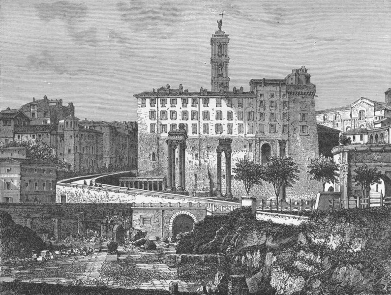 Associate Product ROME. 1st visit to. View from forum 1880 old antique vintage print picture