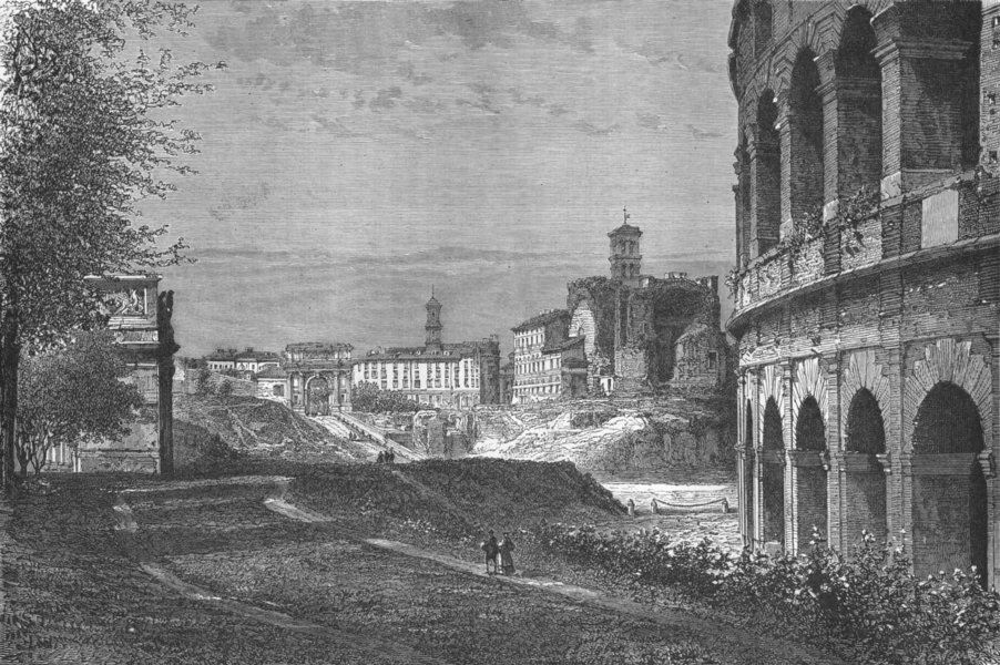 Associate Product ROME. 1st visit to. Entry forum, looking North 1880 old antique print picture