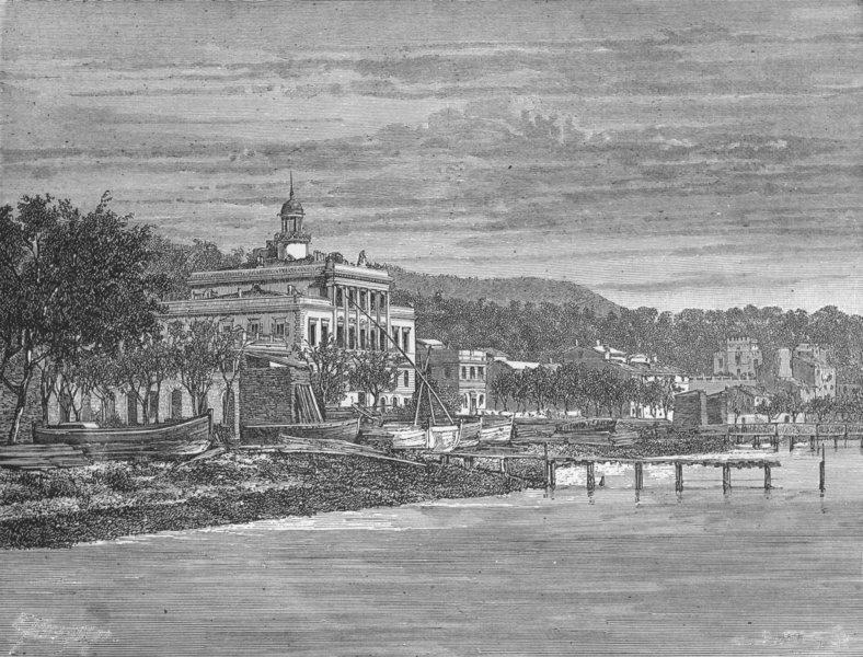 ITALY. Gulf of La Spezia. Maltese Cross Hotel  1880 old antique print picture