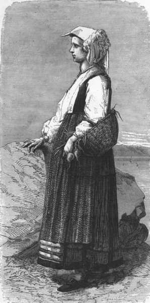 Associate Product ITALY. Gulf of La Spezia. Peasant woman 1880 old antique vintage print picture