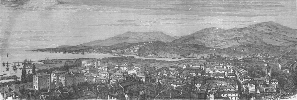 Associate Product ITALY. Gulf of La Spezia. Panorama 1880 old antique vintage print picture