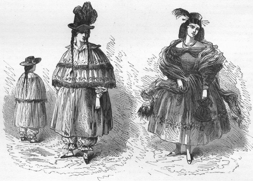 Associate Product PERU. Riding, full-dress costume, Peruvian Ladies 1880 old antique print