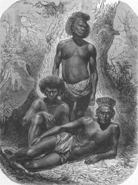 Associate Product NEW CALEDONIA. Group of Kanaks 1880 old antique vintage print picture