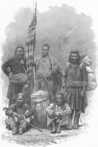 Associate Product HUNTING. Himalayas. Our Coolie Porters 1880 old antique vintage print picture