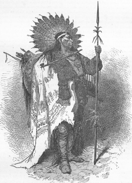 Associate Product USA. North-American Indians. chief in full war dress 1880 old antique print
