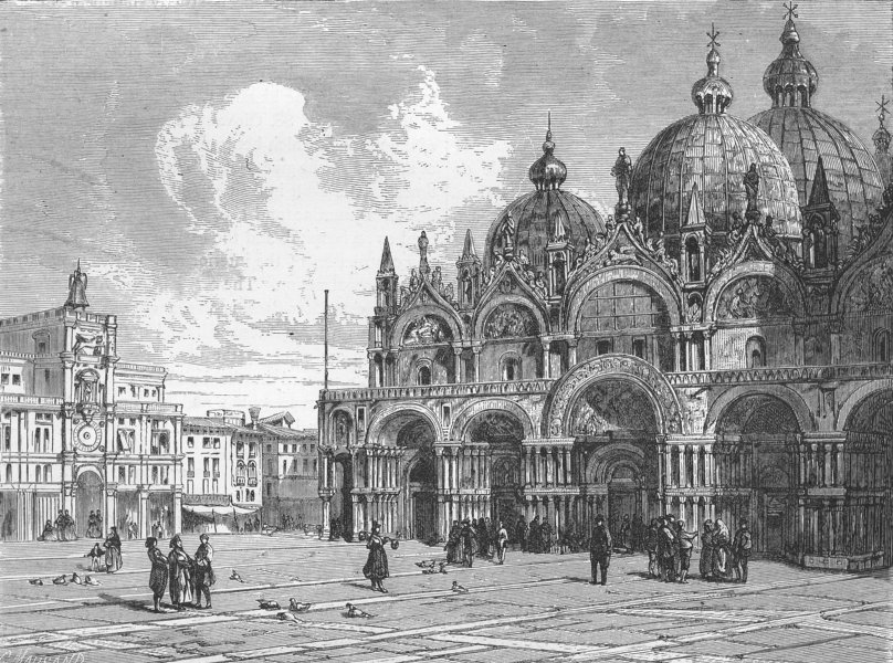 Associate Product VENICE. Basilica of St Mark, from Piazza 1880 old antique print picture