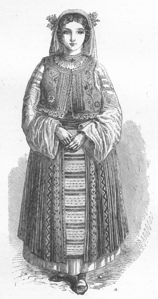 Associate Product COSTUME. Wallachian peasant-girl 1880 old antique vintage print picture