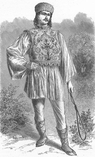 Associate Product COSTUME. Danubian Principalities. Wallachian peasant 1880 old antique print