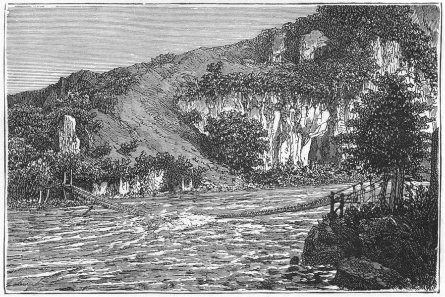 Associate Product BRIDGES. Himalayas. Bridge in Ghurwal 1880 old antique vintage print picture