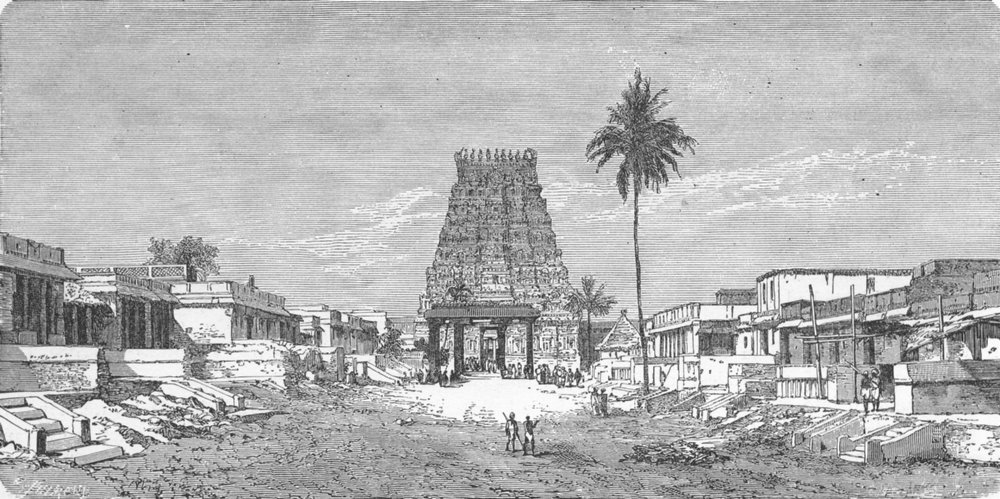 INDIA. Temples. Entry to Pagoda of Kanchipuram 1880 old antique print picture