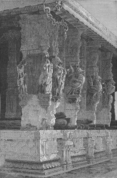 Associate Product INDIA. Temple of hundred columns, Kanchipuram 1880 old antique print picture
