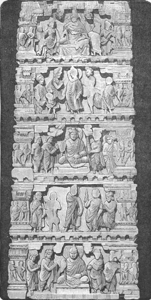 Associate Product INDIA. Temples. Bas-relief from Indian Temple 1880 old antique print picture