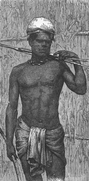 Associate Product NEW CALEDONIA. Fisherman of Kanala 1880 old antique vintage print picture