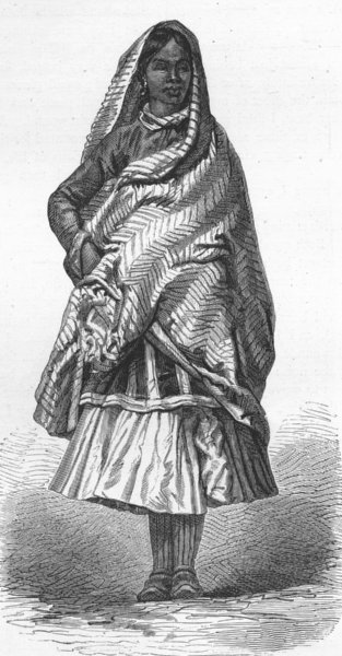 Associate Product INDIA. Himalayas. Peasant woman of North 1880 old antique print picture