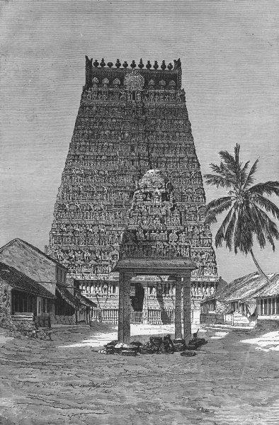 Associate Product INDIA. Temples. Chief Gopuram of Combaconum 1880 old antique print picture