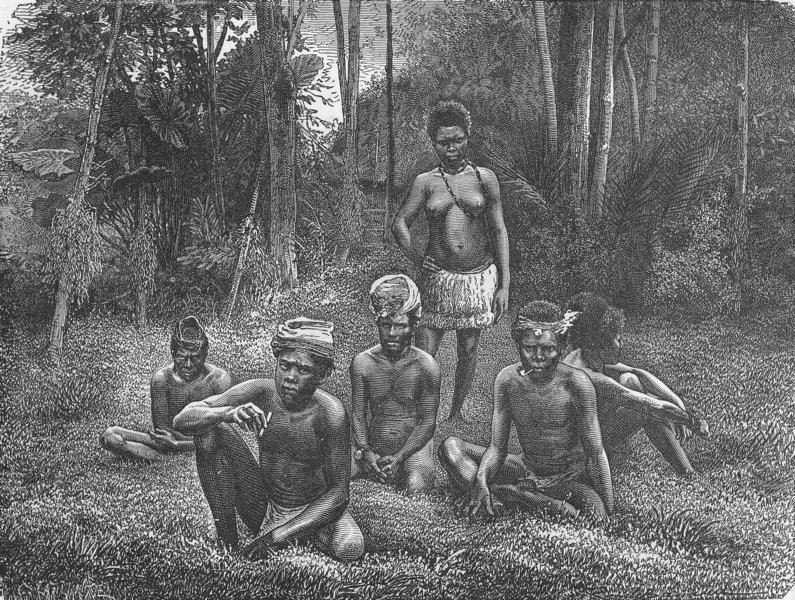 Associate Product NEW CALEDONIA. Group of natives 1880 old antique vintage print picture
