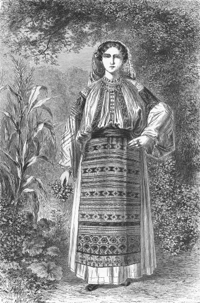 Associate Product COSTUME. Wallachian Peasant-Woman-Pedro's wife 1880 old antique print picture