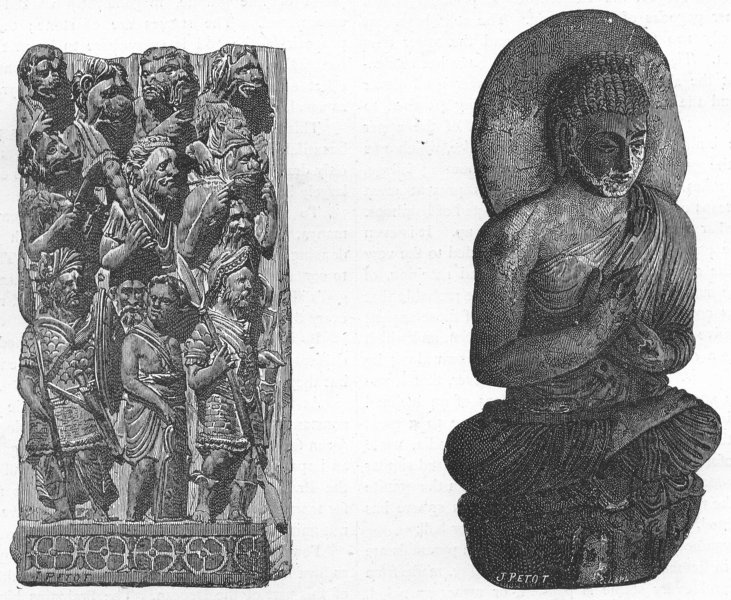 Associate Product INDIA. Bas-reliefs from Indian Temple; Idol 1880 old antique print picture
