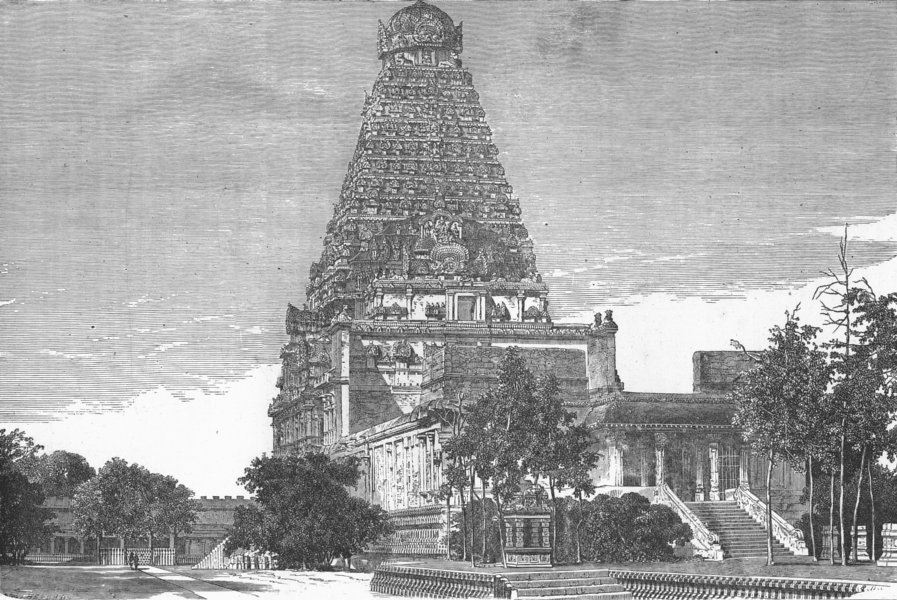 Associate Product INDIA. Temples. Gt entry Gate of Pagoda Thanjavur 1880 old antique print