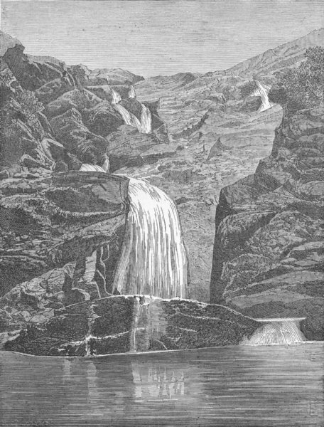 Associate Product NEW CALEDONIA. Ba Falls, in Lebris Bay 1880 old antique vintage print picture