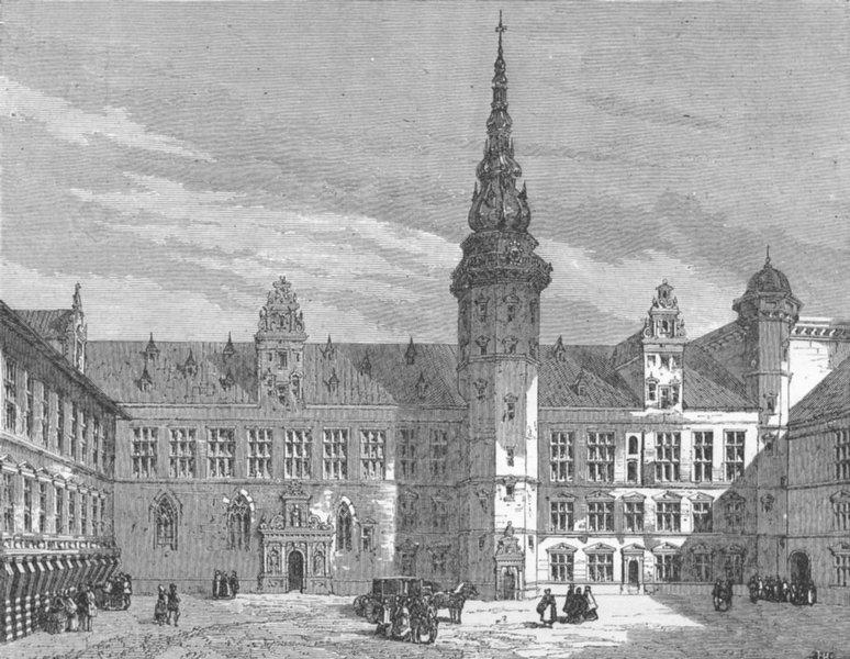 DENMARK. Danish Chateau 1880 old antique vintage print picture
