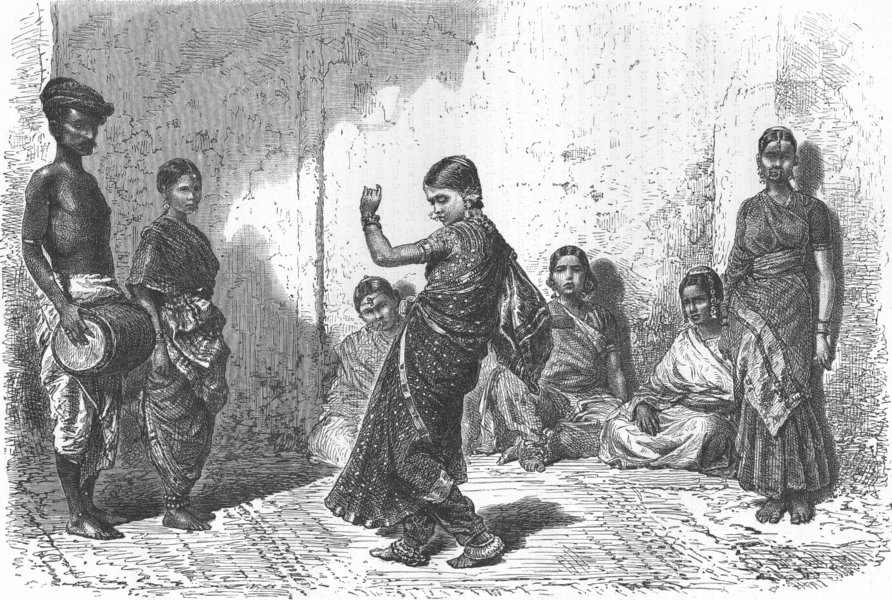 Associate Product INDIA. Indian dancing-girl 1880 old antique vintage print picture