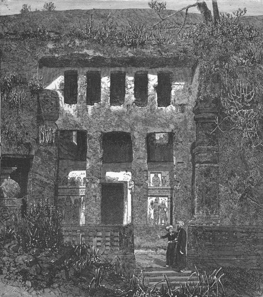 Associate Product INDIA. Principal Cavern of Kanheri 1880 old antique vintage print picture