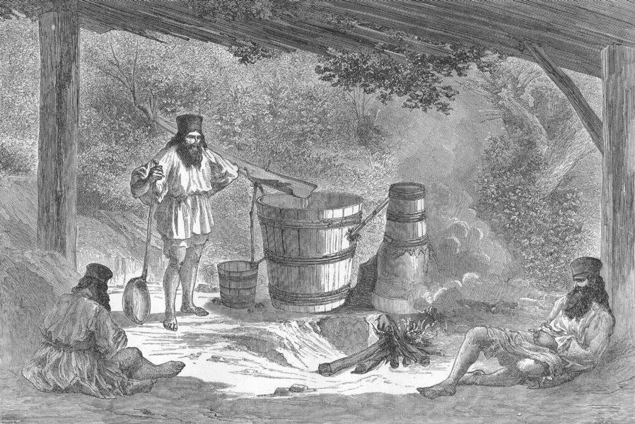 DRINK. Wallachians distilling Slievovitz 1880 old antique print picture