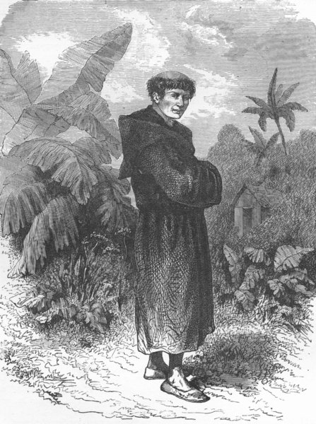 Associate Product MEXICO. Monk turned hermit 1880 old antique vintage print picture