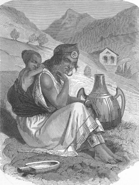 Associate Product MOROCCO. Moorish Peasant Woman at a well 1880 old antique print picture