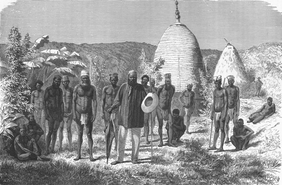 Associate Product NEW CALEDONIA. Chief, Mango & his tribe 1880 old antique vintage print picture