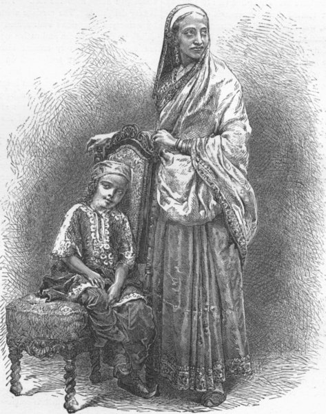 Associate Product INDIA. Mumbai & Malabar Coast. Parsee Lady 1880 old antique print picture