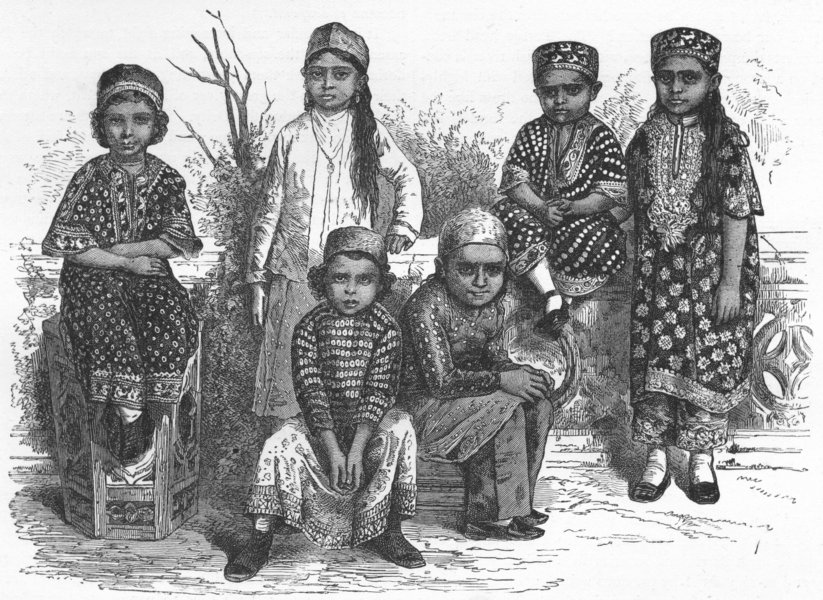 Associate Product INDIA. Mumbai & Malabar Coast. Parsee Children  1880 old antique print picture